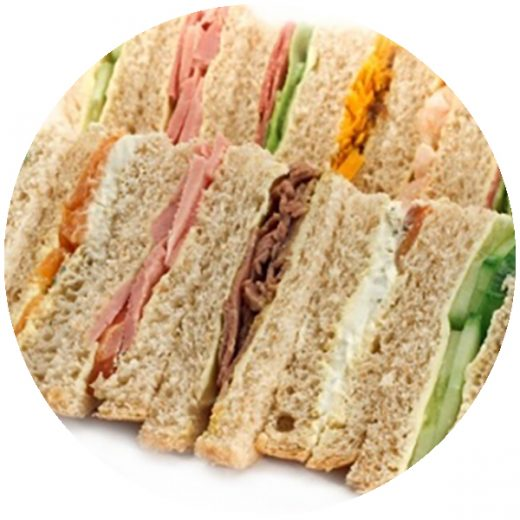 Pre made mixed sandwiches and round wholemeal rolls